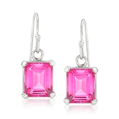 7.00 ct. t.w. Pink Topaz Drop Earrings in Sterling Silver