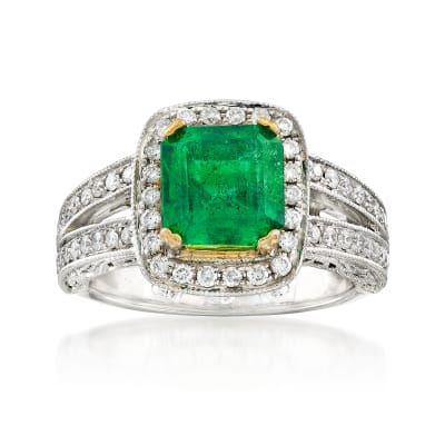 C. 2000 Vintage 2.40 Carat Emerald and 1.00 ct. t.w. Diamond Ring in 14kt Two-Tone Gold