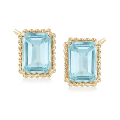 4.00 ct. t.w. Blue Topaz and 14kt Yellow Gold Beaded Frame Earrings