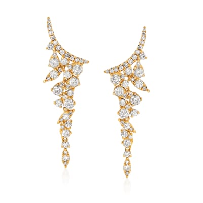 1.20 ct. t.w. Diamond Ear Climbers in 18kt Yellow Gold