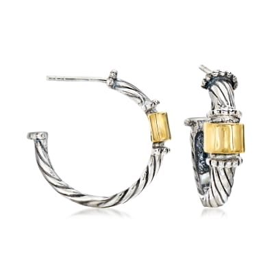 Sterling Silver with 14kt Yellow Gold C-Hoop Earrings