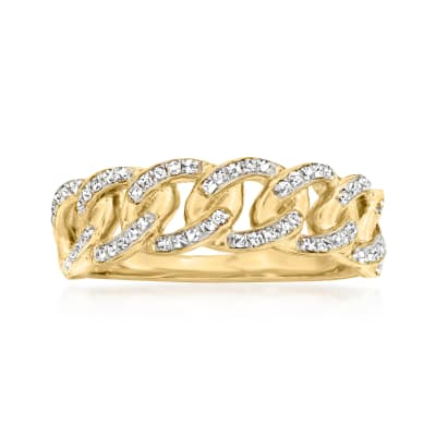 .25 ct. t.w. Diamond Link Ring in 18kt Gold Over Sterling