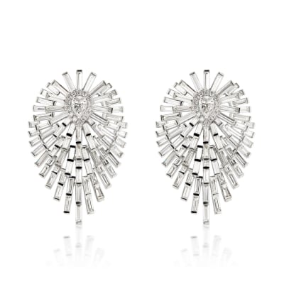6.59 ct. t.w. Diamond Drop Earrings in 18kt White Gold