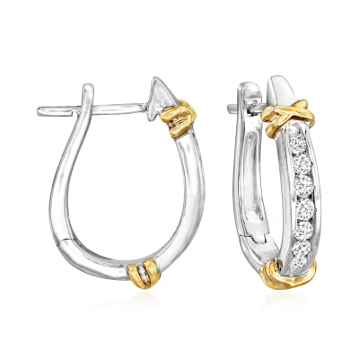 .25 ct. t.w. Diamond Hoop Earrings in Sterling Silver with 14kt Yellow Gold