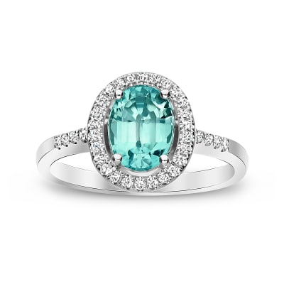 2.00 Carat Blue Zircon Ring with .18 ct. t.w. Diamonds in 14kt White Gold