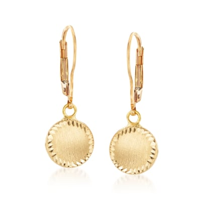 Italian 18kt Yellow Gold Circle Drop Earrings