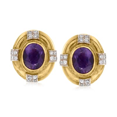 C. 1980 Vintage 6.50 ct. t.w. Amethyst and .65 ct. t.w. Diamond Clip-On Earrings in 14kt Yellow Gold