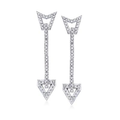 C. 1970 Vintage .80 ct. t.w. Diamond Arrow Linear Drop Earrings in 14kt White Gold