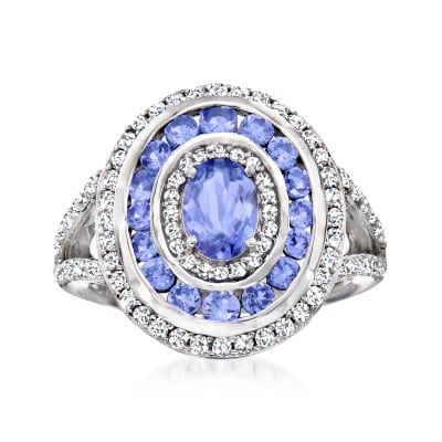 1.40 ct. t.w. Tanzanite and .70 ct. t.w. White Topaz Ring in Sterling Silver