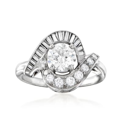 C. 1970 Vintage 1.28 ct. t.w. Diamond Swirl Ring in Platinum