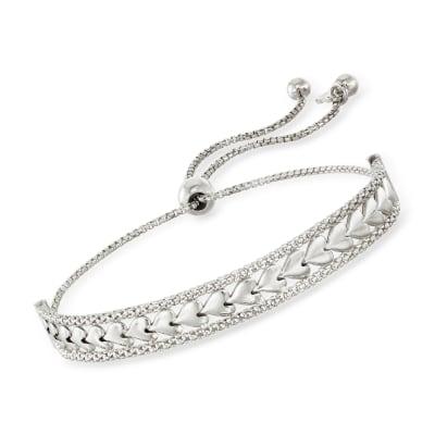 Italian Sterling Silver Heart Center Bolo Bracelet