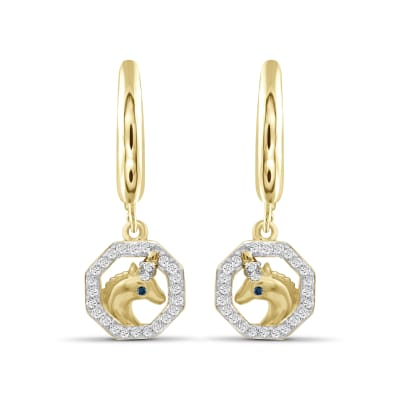 .15 ct. t.w. Diamond Unicorn Drop Earrings in 18kt Yellow Gold Over Sterling Silver