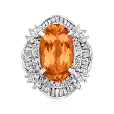 C. 1980 Vintage 6.55 Carat Imperial Topaz and 1.59 ct. t.w. Diamond Cocktail Ring in Platinum