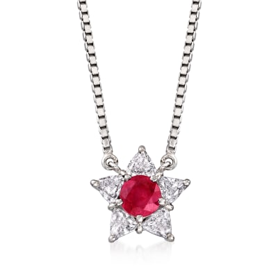 C. 1990 Vintage .62 Carat Ruby and .61 ct. t.w. Diamond Star Necklace in Platinum