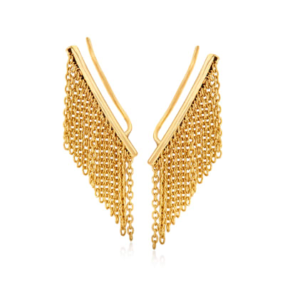 14kt Yellow Gold Fringe Ear Climbers