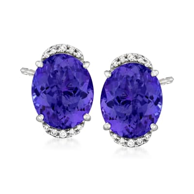 8.10 ct. t.w. Tanzanite Earrings with .14 ct. t.w. Diamonds in 18kt White Gold