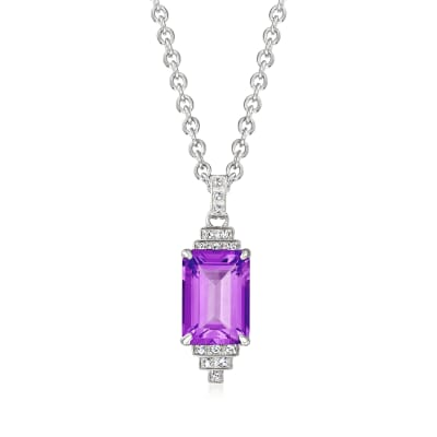 "Andrea Candela ""Gatsby"" 6.70 Carat Amethyst Necklace with .12 ct. t.w. Diamonds in Sterling Silver"