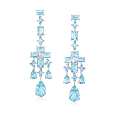 16.30 ct. t.w. Aquamarine Drop Earrings in 14kt White Gold with Diamond Accents