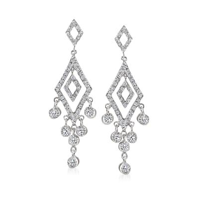 C. 1990 Vintage 1.20 ct. t.w. Diamond Chandelier Earrings in 14kt White Gold