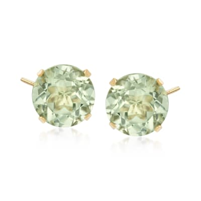 7.70 ct. t.w. Prasiolite Stud Earrings in 14kt Yellow Gold