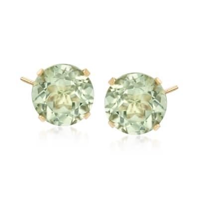 7.70 ct. t.w. Prasiolite Stud Earrings in 14kt Yellow Gold