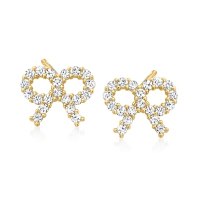 Child's .20 ct. t.w. CZ Ribbon Earrings in 14kt Yellow Gold