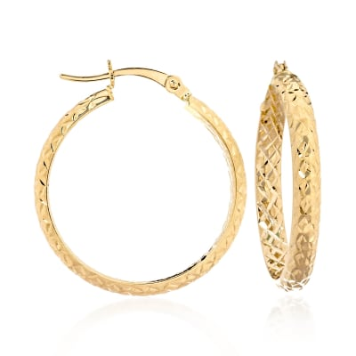 14kt Yellow Gold Quilted Hoop Earrings