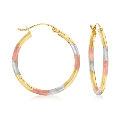 14kt Tri-Colored Gold Hoop Earrings