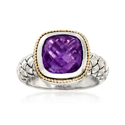 3.30 Carat Amethyst Ring in Sterling Silver with 14kt Yellow Gold