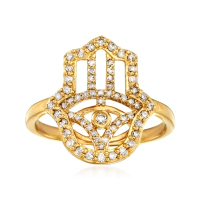 .37 ct. t.w. Diamond Hamsa Hand Ring in 18kt Gold Over Sterling