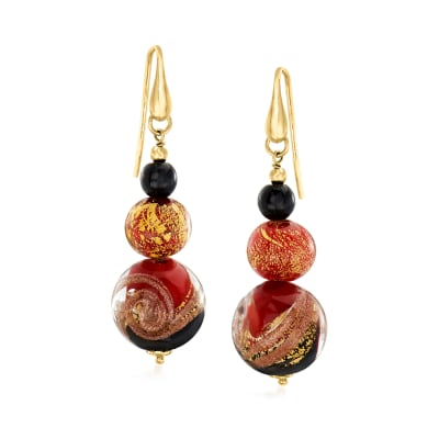 Italian Red, Black and Gold Murano Glass Drop Earrings in 18kt Gold Over Sterling