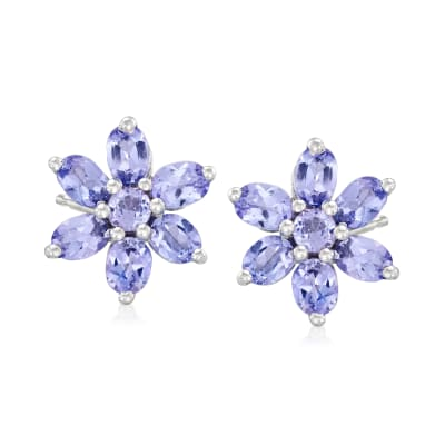 2.10 ct. t.w. Tanzanite Flower Earrings in Sterling Silver