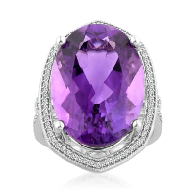 16.00 Carat Amethyst Ring with .35 ct. t.w. Diamonds in 14kt White Gold