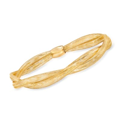 Italian 14kt Yellow Gold Double-Mesh Bangle Bracelet