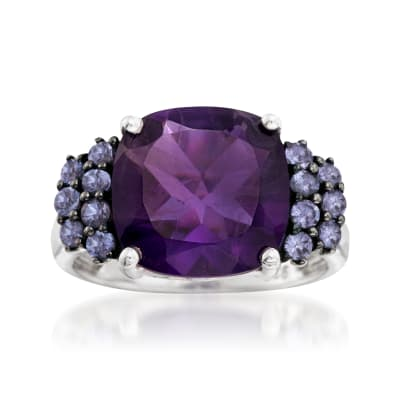 5.50 Carat Amethyst and .40 ct. t.w. Tanzanite Ring in Sterling Silver