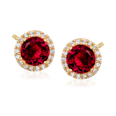 4.10 ct. t.w. Simulated Ruby and .18 ct. t.w. CZ Stud Earrings in 18kt Gold Over Sterling