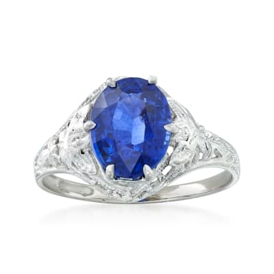 C. 1990 Vintage 2.15 Carat Sapphire Ring in 14kt White Gold