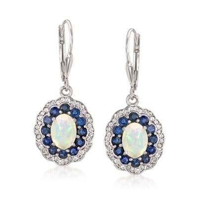 Opal, 1.30 ct. t.w. Sapphire and .30 ct. t.w. Topaz Drop Earrings in Sterling Silver