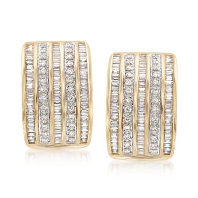 1.22 ct. t.w. Diamond Multi-Row Drop Earrings in 14kt Yellow Gold