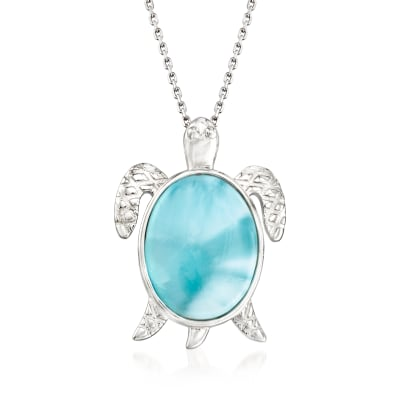 Larimar Sea Turtle Pendant Necklace in Sterling Silver