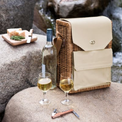 """""""Corsica"""" Wine and Cheese Picnic Basket with Set of 3 Tools"""