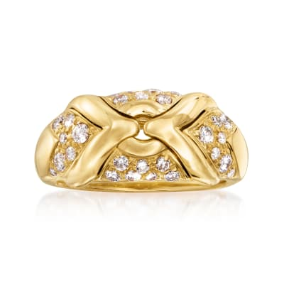 "C. 1990 Vintage Bulgari ""Trika"" .65 ct. t.w. Diamond Ring in 18kt Yellow Gold"