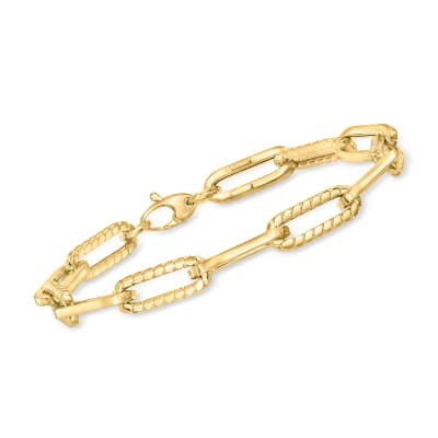 "Phillip Gavriel ""Italian Cable"" 14kt Yellow Gold Paper Clip Link Bracelet"