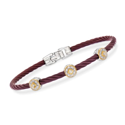 "ALOR ""Shades of Alor"" .14 ct. t.w. Diamond Burgundy Stainless Steel Cable Bracelet with 18kt Yellow and White Gold"