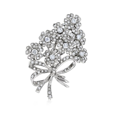 C. 1980 Vintage 5.00 ct. t.w. Diamond Floral Bouquet Pin in 18kt White Gold