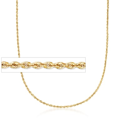 3.2mm 14kt Yellow Gold Rope Chain Necklace