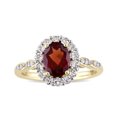 1.40 Carat Garnet and .60 ct. t.w. White Topaz Ring with Diamond Accents in 14kt Yellow Gold