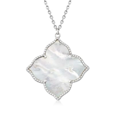 Mother-Of-Pearl Pendant Necklace in Sterling Silver