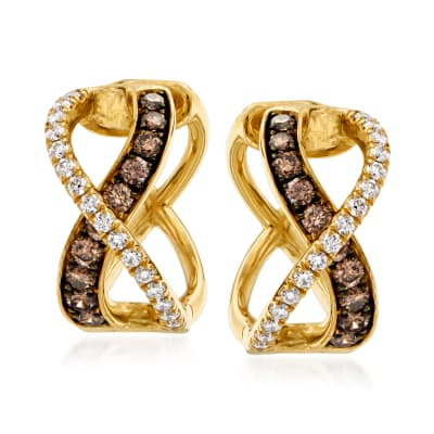 .88 ct. t.w. Brown and White Diamond Crisscross Hoop Earrings in 14kt Yellow Gold