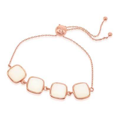 Cabochon Moonstone Bolo Bracelet in 18kt Rose Gold Over Sterling